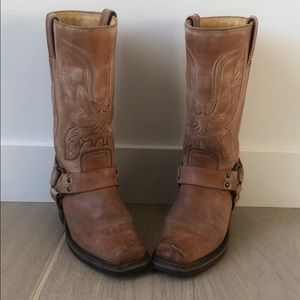 Frye Embroidered Harness Eagle Stitch Boots Size 6